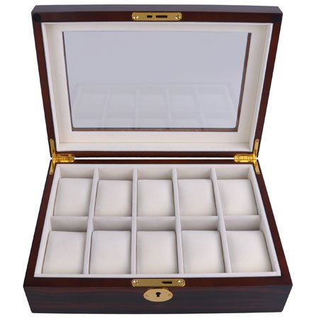 10-Watch Top Class Matte Stain Display/Jewelry Wooden Case In Two Colors With Glass Top (Ebony) front-275821