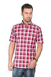 ZIDO Cotton Red Checkered Men's Trend Shirt