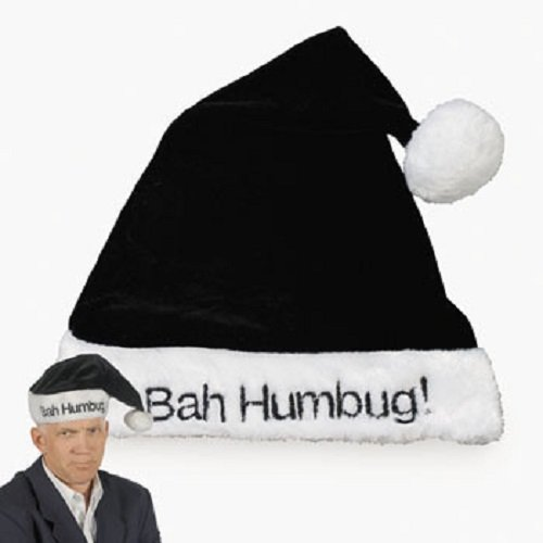 Black Bah Humbug Scrooge Holiday Christmas Santa Hat