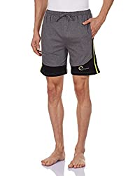 Chromozome Men's Cotton Shorts (8902733319638_S-5427 Charcoal with blk XL)