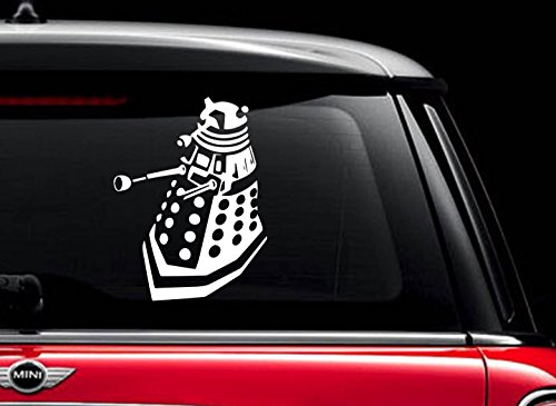"Dalek Doctor Who (White 6"") Vinyl Decal Sticker for Car Automobile Window Wall Laptop Notebook Etc.... Any Smooth Surface Such As Windows Bumpers"