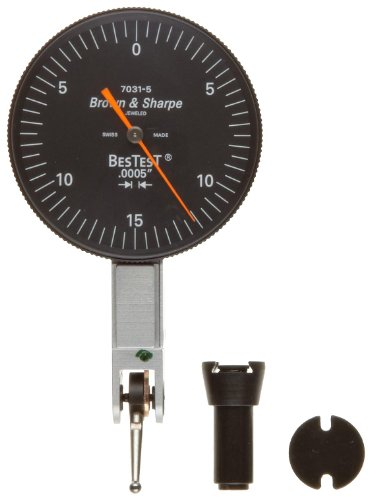 "Brown & Sharpe 599-7031-5 Dial Test Indicator Set, M1.4X0.3 Thread, Black Dial, 0-15-0 Reading, 1.5"" Dial Dia., 0-0.03"" Range, 0.0005"" Graduation, +/-0.0005"" Accuracy front-595232"
