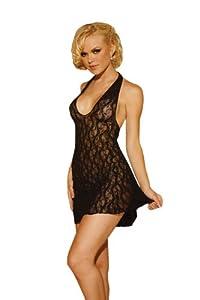 ELEGANT MOMENT 1422Q Lace halter mini dress.