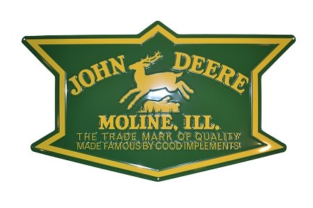 John Deere Metal 1912 Logo Embossed Sign Green