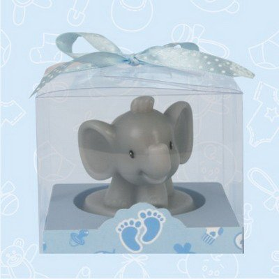 24 Baby Shower Safari Elephant Blue Boy Candle Favor In Box Favors Gift Keepsake Favor front-1076921