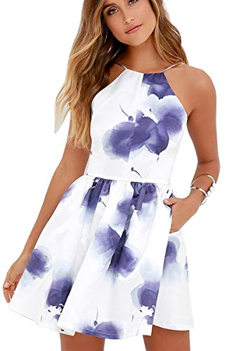 FANCYINN Women Sexy Backless Spaghetti Strap Floral Print Short Mini Casual Dress S