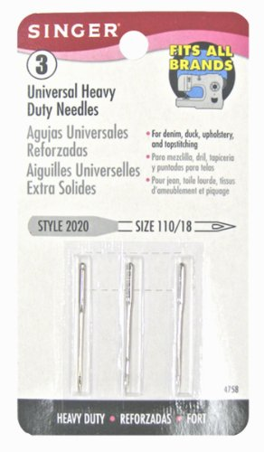 New Singer Heavy Duty Machine Needles, Size 110/18, 3-Pack