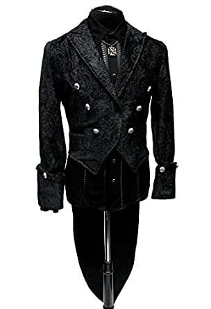 Steampunk Men's Coats Shrine Gothic Victorian Steampunk Black Velvet Jacket Imperial Tailcoat $359.99 AT vintagedancer.com