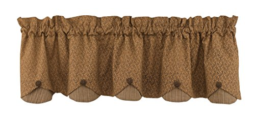 Park Designs Shade of Brown Lined Scalloped Valance, 58 x 15""