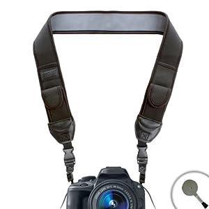 USA Gear Adjustable Anti-Slip Camera Media Strap with Accessory Storage Pockets for Panasonic Lumix DMC GF6 , GF3 , FZ47 , FZ150 , LZ30 and Many More Digital Cameras **Includes Bonus Cleaning Brush**