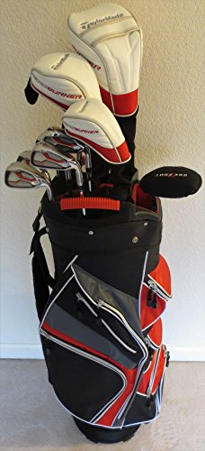 Mens TaylorMade Complete Golf Set Driver, Fairway Wood, Hybrid, Irons, Putter, Cart Bag Stiff Flex (Extra Stiff Golf Clubs compare prices)
