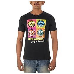 Chennai Gaga Men's Round Neck Cotton T-shirt 4 Summers 112-3-820-Black-L