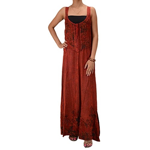 Skirts & Scarves Rayon Embroidered Sleeveless Dress For Women (Maroon)