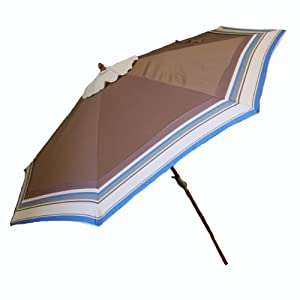 At Leisure Wood Market Umbrella, 9-Feet, Cocoa Brown and Blue at Sears.com