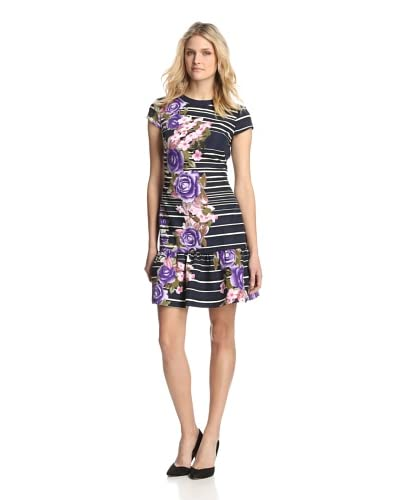 Muse Dresses Women's Floral & Striped Flounce Dress  [Navy/Lilac]
