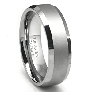 8MM Tungsten Carbide Men's Ring in Comfort Fit and Matte Finish Sz 10