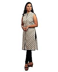 Kala Nidhi Women's Cotton Kurti (Off White_Medium_38)
