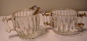 Vintage Clear Heavy Glass Gold Trimmed Sugar & Creamer Set