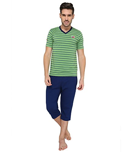 Valentine-Mens-Green-color-Top-Capri-Set