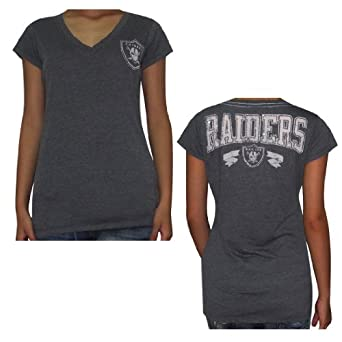 NFL Oakland Raiders Ladies V-Neck Cotton T-Shirt with Rhinestones by NFL