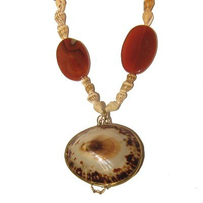 Carnelian Necklace 05 Pendant Shell Coin Purse Orange White Locket 18