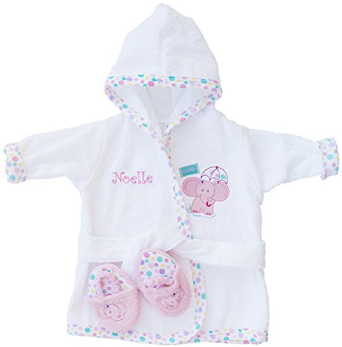 PERSONALIZED Monogrammed Pink Elephant Terry Hooded Bath Robe & Slipper Set Sz 0-9 Mo