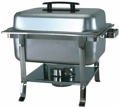 Update International (CC-9P) 4 Qt Stainless Steel Rectangular Continental Chafer w/Welded Legs