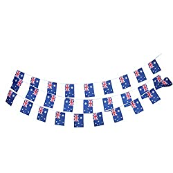 Magideal 30Pcs 10m Australia Flag String Bunting Banner Garland Outdoor Decor