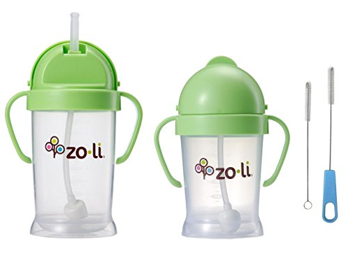 Zoli Bot Straw Sippy Cup 9oz. & 6oz. with Straw Cleaner - Green/Green