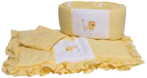 Baby Doll Bedding Gingham Applique Cradle Bedding Set, Lion
