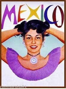 LanLan Mexico Mexican Senorita by Airplane Vintage Travel Art Poster Advertisement