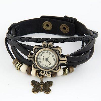 Ashiana stylish leather butterfly bracelet style watch - Black