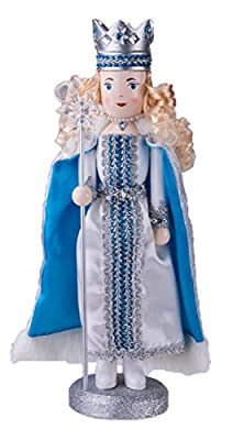 "Wooden Nutcracker Queen Decoration Figure with Scepter and Crown - 14"" White and Blue"
