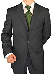 Giorgio Napoli Men's Three Button Jacket Pleated Pants Charcoal Suit
