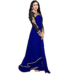 Cenizas Blue Colour Georgette Embroidered Semi-stitched Anarkali
