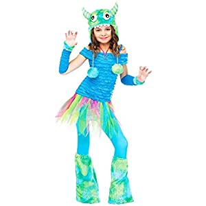 Big Girls' Blue Beastie Monster Costume Large (12-14)