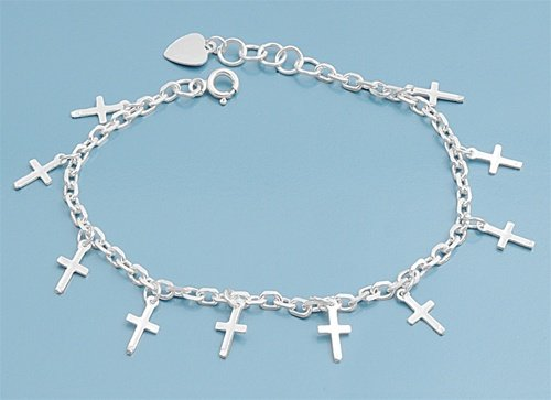 Silver Bracelet with Charm - Crosses