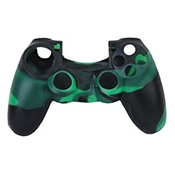 Imported Camo Silicone Protective Skin Case Cover for Sony PlayStation 4 PS4 Controller - Green-black