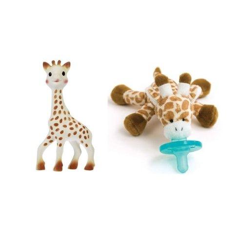 Sophie the Giraffe Baby Teether and Giraffe Wubbanub with Bonus Dainty Baby Reusable Bag