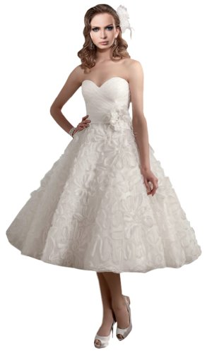 Zhuolan White Sweetheart Organza Floral Details Sash Flower Tea Length Wedding Dress 12