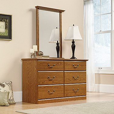 Orchard Hills Dresser And Mirror In Carolina Oak By Sauder front-575145