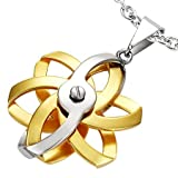 Ladies Stainless Steel 2-Tone Geometric Flower Spinner Pendant & Chain - Length 50cms