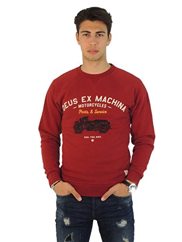 Deus Ex Machina felpa uomo girocollo con stampa DMW48194A (S, ROSSO)