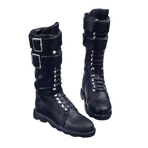 """Noir 1/6 Lacets Boucle Plates Longues Chaussures Bottes Pour 12"""" Body femme Figure"""