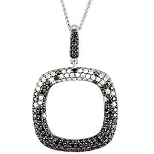 IceCarats Designer Jewelry 14K White Gold Black And White Diamond Necklace With Black Rhodium 18 Inch