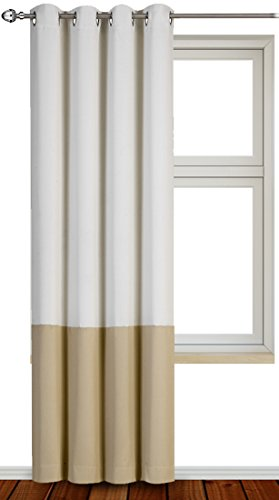 Printed Blackout Room Darkening Printed Curtains Window Panel Drapes - Beige Tauepe 2 Colors 1 Panel - 52 inch wide by 84 inch long - Decorative Curtains by Utopia Bedding (Color Drapes compare prices)