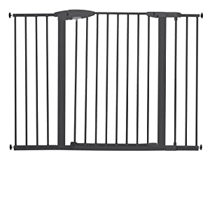 Munchkin Easy-Close Extra Tall and Wide Metal Gate, Dark Grey