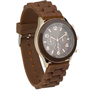CHOCOLATE/BROWN GENEVA SILICONE LADIES JELLY WATCH. NEW