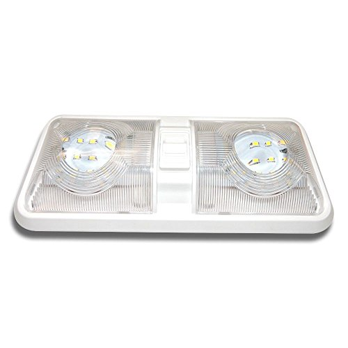1 NEW RV LED 12v CEILING FIXTURE DOUBLE DOME LIGHT FOR CAMPER TRAILER RV MARINE (12v Rv Led compare prices)