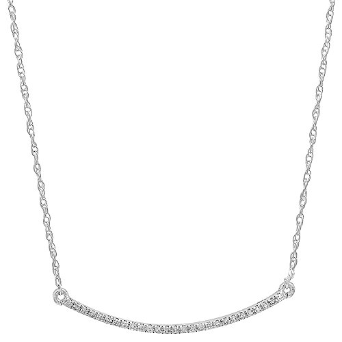 010-Carat-ctw-14K-White-Gold-Round-Diamond-Ladies-Bar-Shape-Pendant-110-CT-Silver-Chain-Included